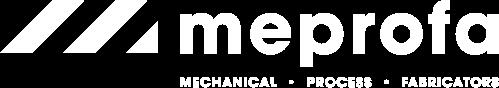 Het logo van Meprofa, 3 rode lijnen met tussenruimte in een hoek van 45 graden links naast de tekst Meprofa - mechanical, process, fabricators